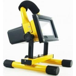 LED projektør 10w 12v/230v - Transportabel Genopladelig