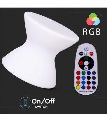 V-Tac RGB LED stol - Genopladelig, med fjernbetjening, 40x40x36 cm