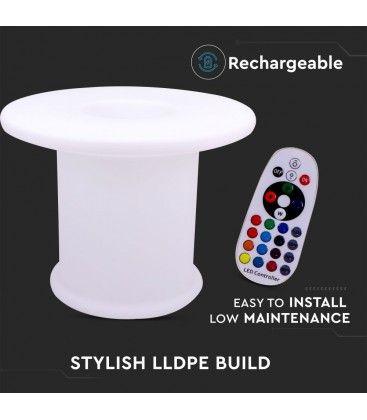 V-Tac RGB LED bord - Genopladelig, med fjernbetjening, Ø70x54 cm