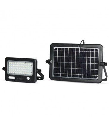 V-Tac 10W LED Solcelle projektør - Solcelle medfølger, indbygget batteri, med sensor, udendørs