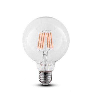 V-Tac 6W LED globepære - Samsung LED chip, Kultråd, Ø9,5 cm, E27