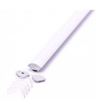 Aluprofil Type 3363 til IP65 og IP68 LED strip - Hjørne, 2 meter, inkl. matteret cover og klips
