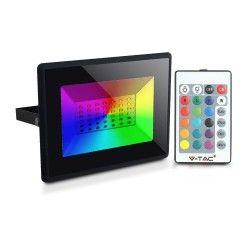 LED Projektør V-Tac 50W LED projektør RGB - Med RF fjernbetjening, udendørs