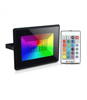 V-Tac 50W LED projektør RGB - Med RF fjernbetjening, udendørs