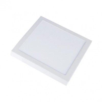 V-Tac 12W LED loftslampe - 14 x 14cm, Højde: 2,4cm, hvid kant, inkl. lyskilde - Kulør : Varm