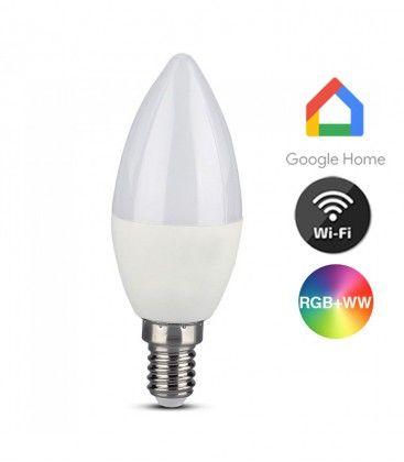 V-Tac 5W Smart Home LED pære - Virker med Google Home, Alexa og smartphones, E14