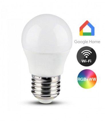 V-Tac 5W Smart Home krone LED pære - Virker med Google Home, Alexa og smartphones, E27, G45