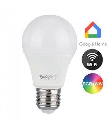 V-Tac 10W Smart Home LED pære - Virker med Google Home, Alexa og smartphones, E27