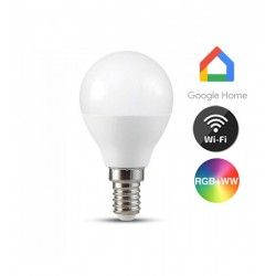 Smart Home pærer V-Tac 5W Smart Home LED pære - Virker med Google Home, Alexa og smartphones, P45, E14