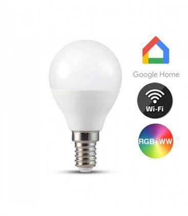 V-Tac 5W Smart Home LED pære - Virker med Google Home, Alexa og smartphones, P45, E14