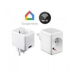 Smart Home pærer V-Tac Smart Home Wifi stikkontakt - Virker med Google Home, Alexa og smartphones, med USB udtag, 230V