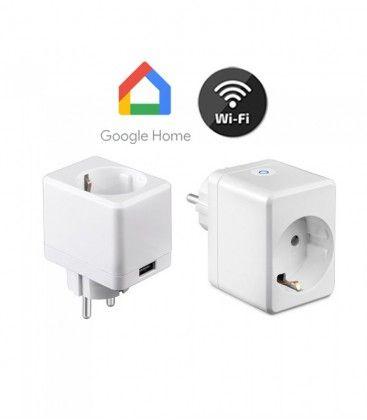 V-Tac Smart Home Wifi stikkontakt - Virker med Google Home, Alexa og smartphones, med USB udtag, 230V