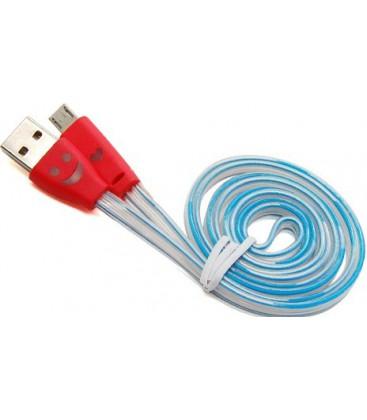 Micro USB kabel. LED. Fladt design.