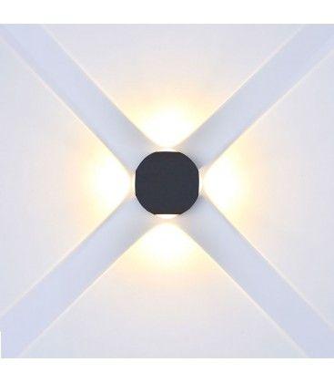 V-Tac 4W LED sort væglampe - Rund, IP65 udendørs, 230V, inkl. lyskilde