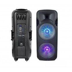 Trådløs Party Højttaler Partyhøjtaler på hjul  - 150W, genopladelig, Bluetooth, RGB, inkl. mikrofon