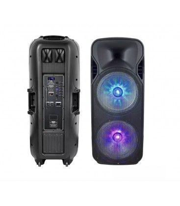 150W partyhøjtaler på hjul - Genopladelig, Bluetooth, RGB, inkl. mikrofon