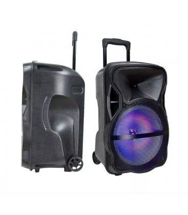 35W partyhøjtaler på hjul - Genopladelig, Bluetooth, RGB, inkl. mikrofon