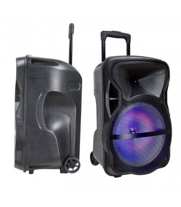 50W partyhøjtaler på hjul - Genopladelig, Bluetooth, RGB, inkl. mikrofon