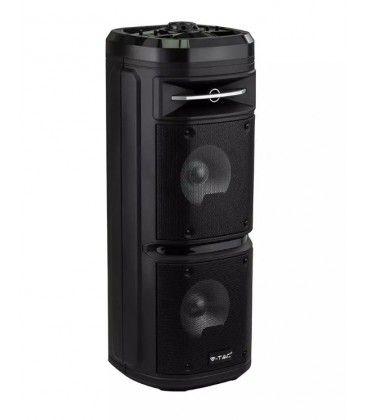 30W partyhøjtaler på hjul - Genopladelig, Bluetooth, RGB, inkl. mikrofon