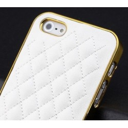 iphone5.cover.leather.gold: Iphone 5 cover, PU-læder og guld kant.
