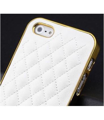 Iphone 5 cover, PU-læder og guld kant.