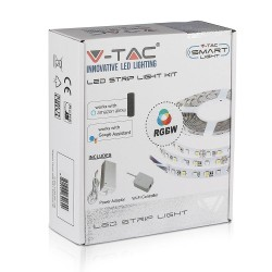 Smart Home pærer V-Tac 10W/m RGB+W LED strip komplet kit - 5m, 60 LED pr. meter, Smart Home /u fjernbetjening