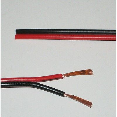 Billede af 12-24V ledning rød/sort - 2x0,5mm², metervare, min. 5 meter