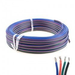 LED Strips 12-24V RGB kabel - 4 x 0,5 mm², metervare, min. 5 meter