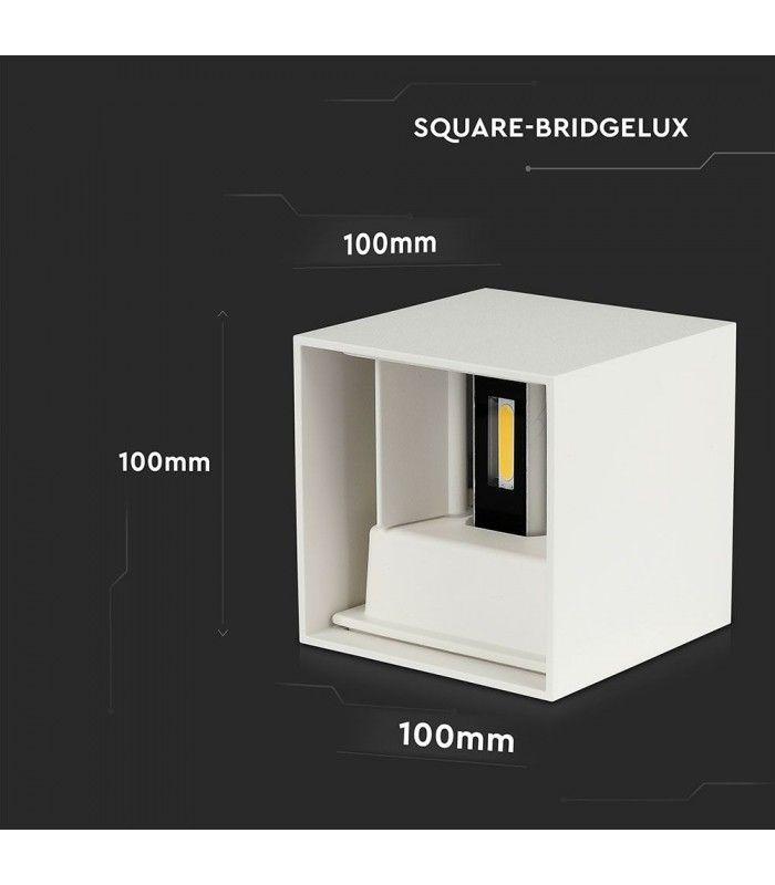 V Tac 12W LED hvid væglampe Firkantet, justerbar spredning, IP65 udendørs, 230V, inkl. lyskilde