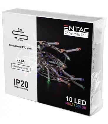 1 meter indendørs LED julelyskæde - Batteri, 10 LED, multicolor