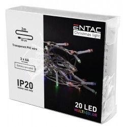 BLACK FRIDAY + CYBER MONDAY 2 meter indendørs LED julelyskæde - Batteri, 20 LED, multicolor