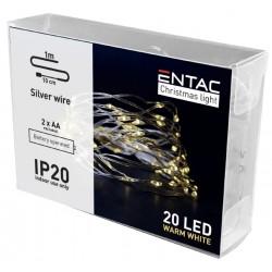 Diverse 1 meter indendørs LED julelyskæde  -  Batteri, 20 LED, varm hvid