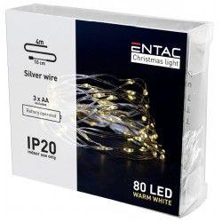 BLACK FRIDAY + CYBER MONDAY 4 meter indendørs LED julelyskæde - Batteri, 80 LED, varm hvid