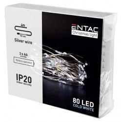 BLACK FRIDAY + CYBER MONDAY 4 meter indendørs LED julelyskæde - Batteri, 80 LED, kold hvid