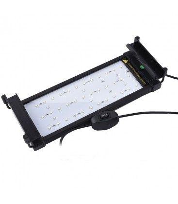 26-50 cm akvarie armatur - 6W LED, hvid/blå, justerbar