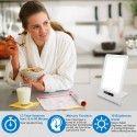 LED lysterapi lampe med timer/alarm - 18W, hvid/blå, 10.000 LUX, indbygget batteri