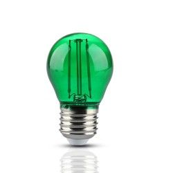 Almindelige LED pærer E27 V-Tac 2W Farvet LED kronepære - Grøn, Kultråd, E27