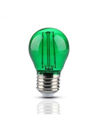 V-Tac 2W Farvet LED kronepære - Grøn, Kultråd, E27