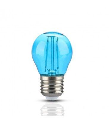 V-Tac 2W Farvet LED kronepære - Blå, Kultråd, E27