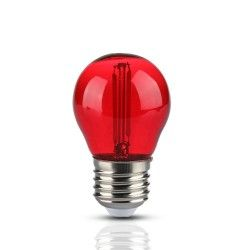 Almindelige LED pærer E27 V-Tac 2W Farvet LED kronepære - Rød, Kultråd, E27