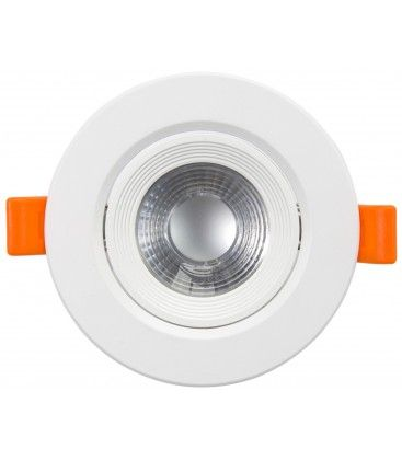 7W LED indbygningsspot - Hul: Ø7,5 cm, Mål: Ø9 cm, indbygget driver, 230V