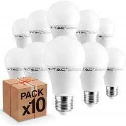 Almindelige LED pærer E27 10 stk V-Tac 9W LED pære - 200 grader, E27