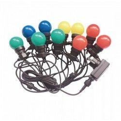Havelamper V-Tac LED lyskæde med 10 stk. 0,5W RGB pærer - 5 meter, 230V, inkl. lyskilde