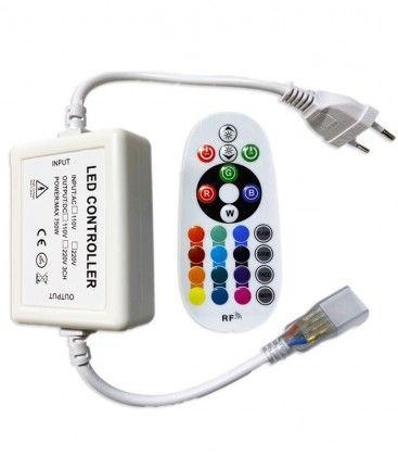 RGB kontroller med fjernbetjening - Inkl. endeprop, 230V, memory funktion, Radiostyret