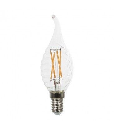 V-Tac 4W LED flammepære med twist - Kultråd, varm hvid, E14