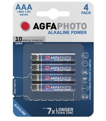 4 stk AgfaPhoto Alkaline batteri - AAA, 1,5V