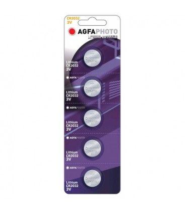 5 stk AgfaPhoto Lithium knapcellebatteri - CR2032, 3V