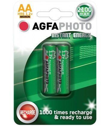 2 stk AgfaPhoto genopladeligt batteri - AA, 1,5V