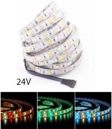12W/m RGB+WW LED strip - 5 meter, IP65, 60 LED pr. meter, 24V