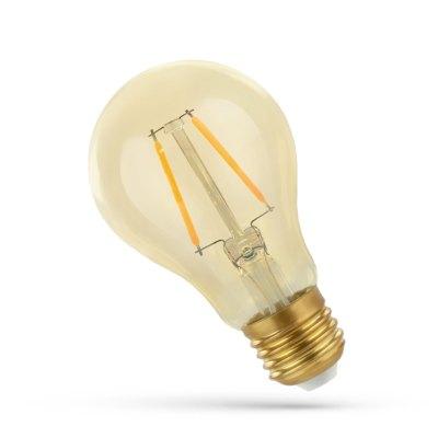 2W LED pære - Kultråd, rav farvet glas, ekstra varm, E27 - Dæmpbar : Ikke dæmpbar, Kulør : Ekstra varm